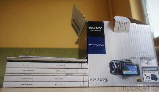 Sony HDR-PJ30 - pudełko i instrukcje