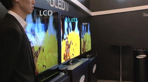 LCD OLED i plazma obok siebie