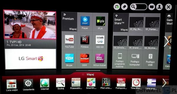 OLED LG 55EA980 - menu główne