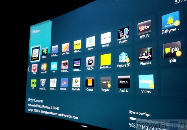 Samsung HU8500 - apps wideo