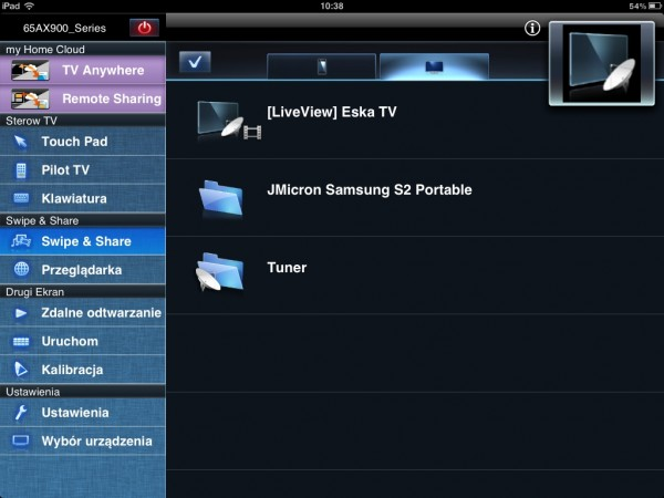 Panasonic AX900 - Smart TV streaming na tablet