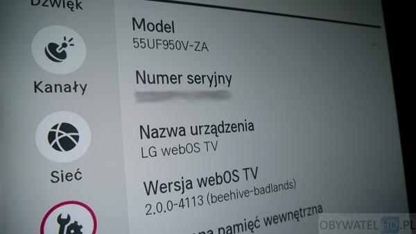 LG UF950V - webOS 2.0 - wersja systemu
