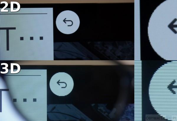 OLED LG EC930V - 2D vs 3D linie