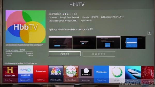 Samsung JS9000 - HbbTV oprogramowanie