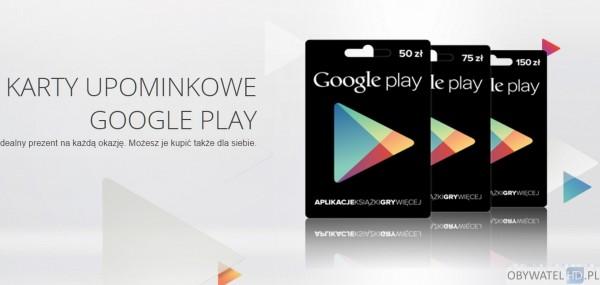 Aplikacja na prezent - karty upominkowe Google