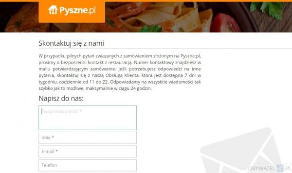 Pyszne.pl - kontakt www